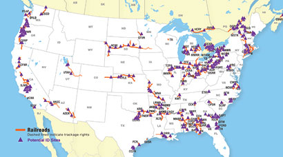 Rail-served sites in US and Canada