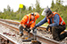Alaska Railroad Corp. plans to install about nine miles of 115-pound rail and replace worn rail joints with CWR, similar to this work performed last year near Fairbanks.