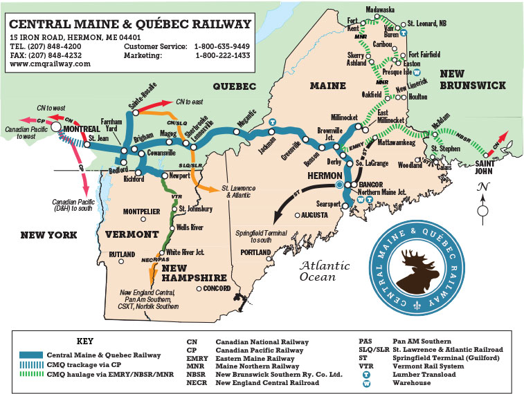 map of quebec and maine Rail Insider Central Maine Quebec A New Railroad Aiming For A map of quebec and maine