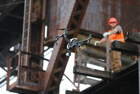 Unmanned Experts' Inspire drone at the Ottawa Lift Bridge