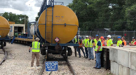 rail tank car and rail workers