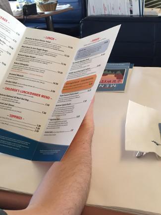 Amtrak Zephyr menus